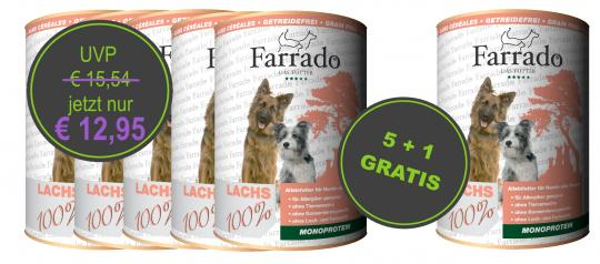 AKTION 5 + 1 GRATIS FARRADO Mono - 100% Lachs Nassfutter Hund