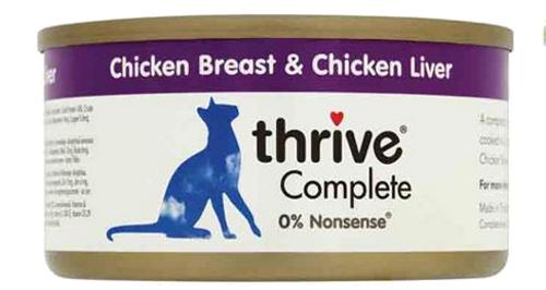 THRIVE Katzen Nassfutter 6 Dosen à 75 gr. Sparpaket Hühchenbrust & Hühnchenleber