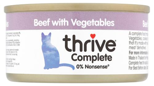 THRIVE Katzen Nassfutter 12 Dosen à 75 gr. Sparpaket Rind & Gemüse
