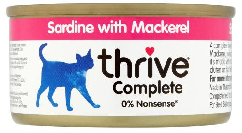 THRIVE Katzen Nassfutter 6 Dosen à 75 gr. Sparpaket Sardine & Makrele